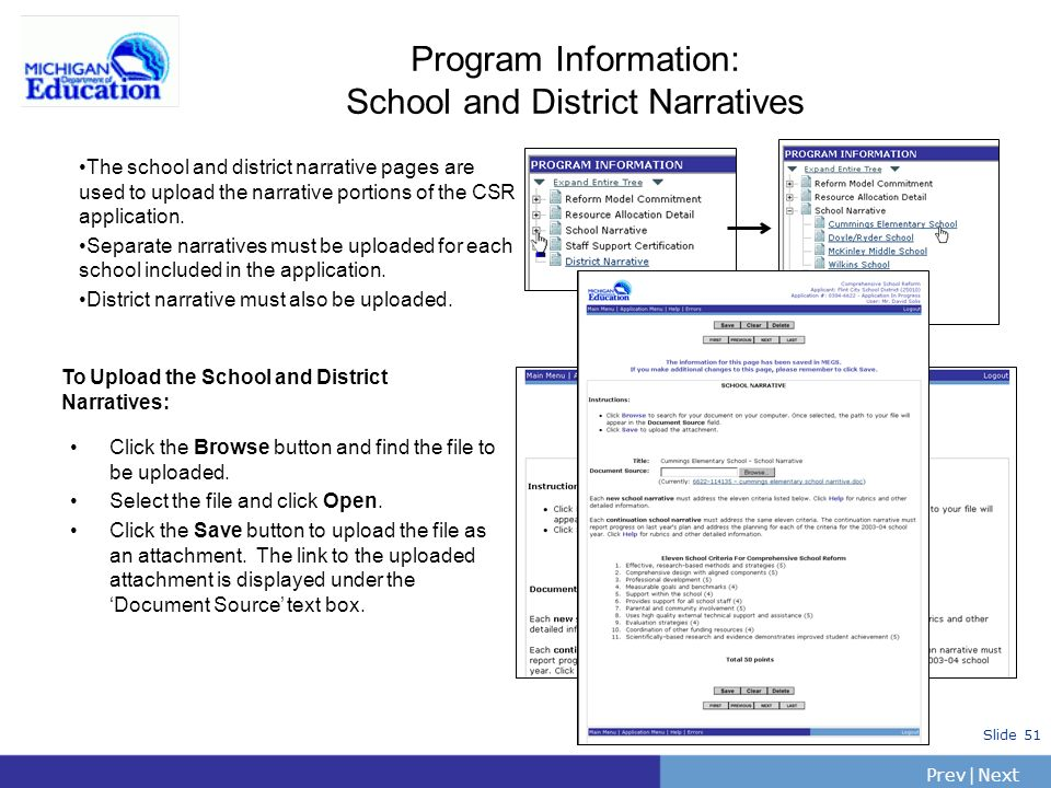Program Information: School and District Narratives