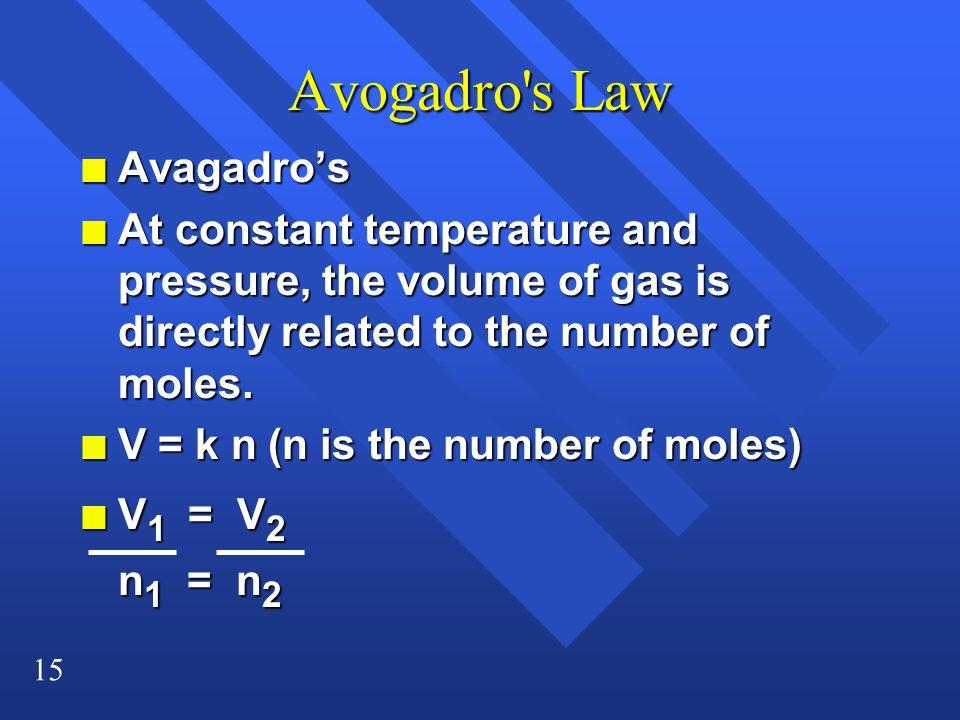 Avogadro s Law Avagadro's
