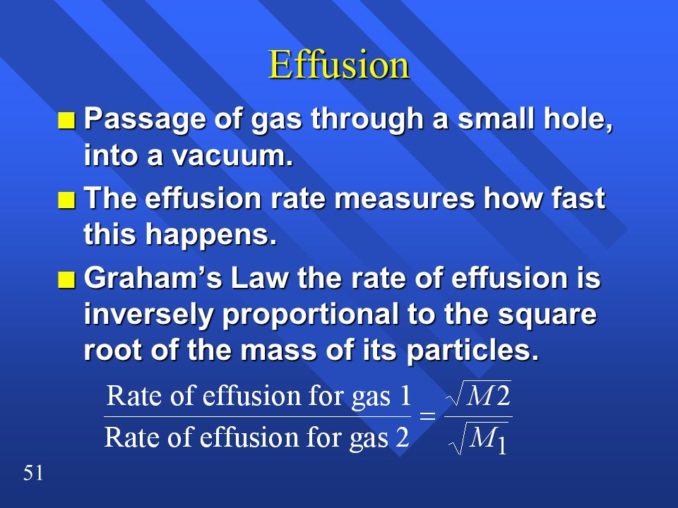 Effusion Passage of gas through a small hole, into a vacuum.