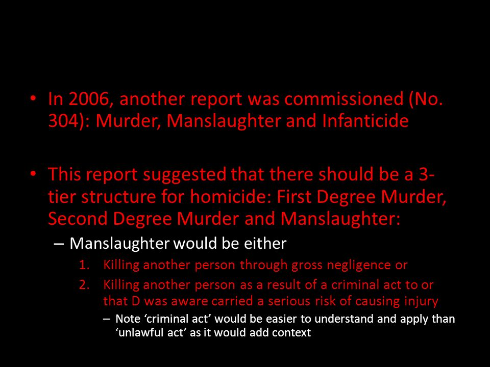murder voluntary manslaughter criticisms and reforms Homicide, murder or manslaughter the victim has to be in being, ie a baby in the mother's womb will not be considered as victim of homicide  voluntary and .