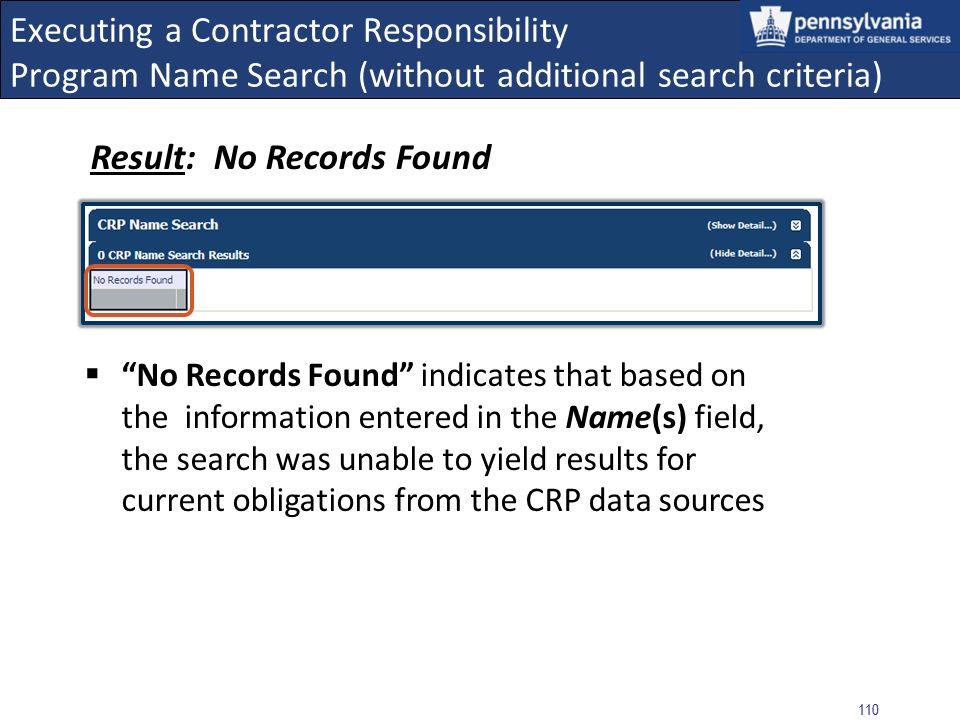 Result: No Records Found