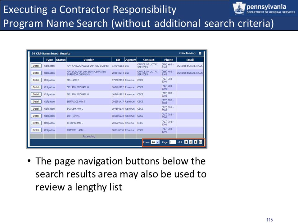 Executing a Contractor Responsibility Program Name Search (without additional search criteria)