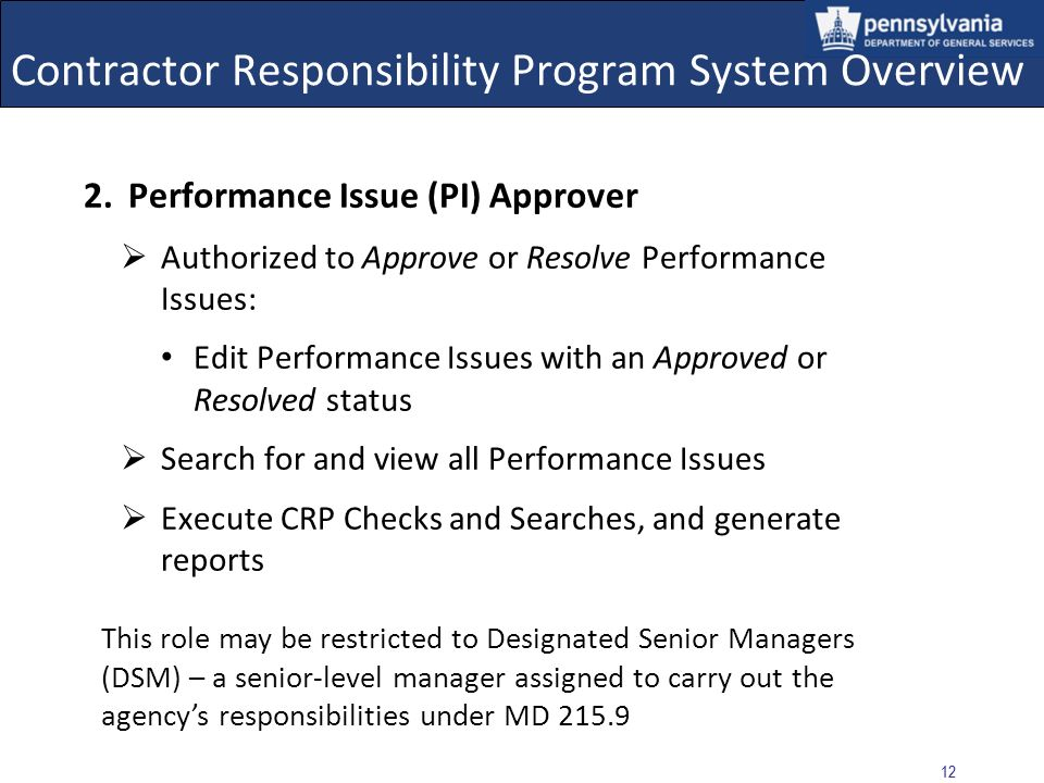 Contractor Responsibility Program System Overview