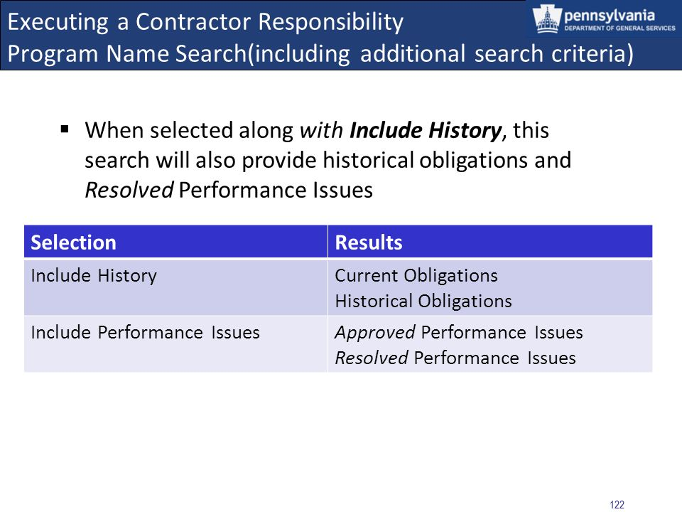 Executing a Contractor Responsibility Program Name Search(including additional search criteria)