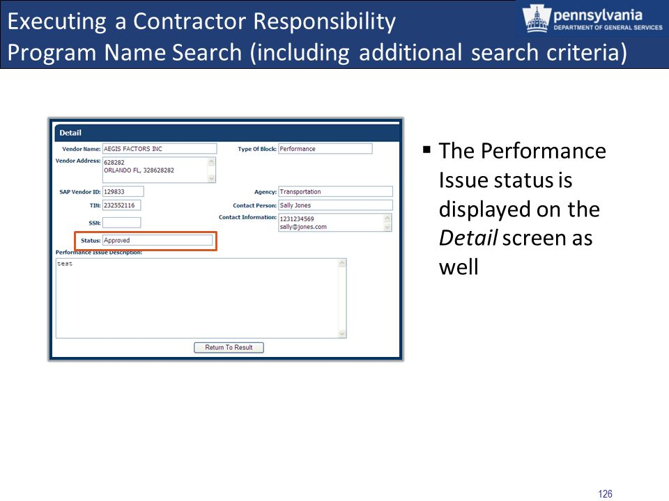 Executing a Contractor Responsibility Program Name Search (including additional search criteria)