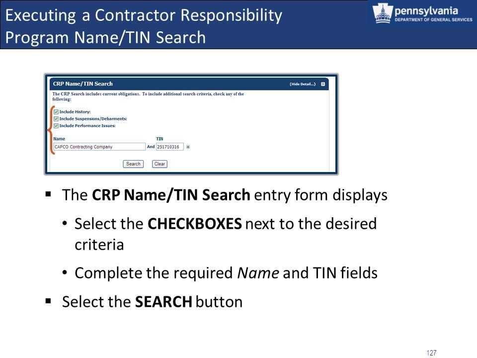 Executing a Contractor Responsibility Program Name/TIN Search