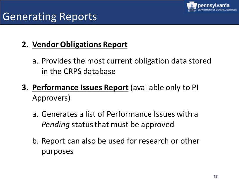 Generating Reports Vendor Obligations Report