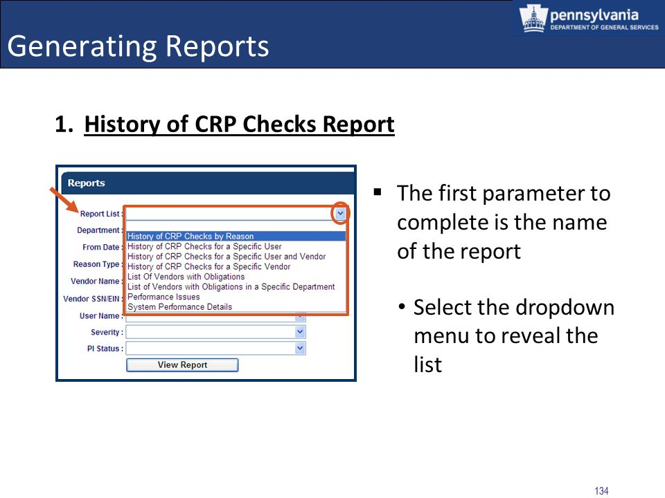 Generating Reports History of CRP Checks Report