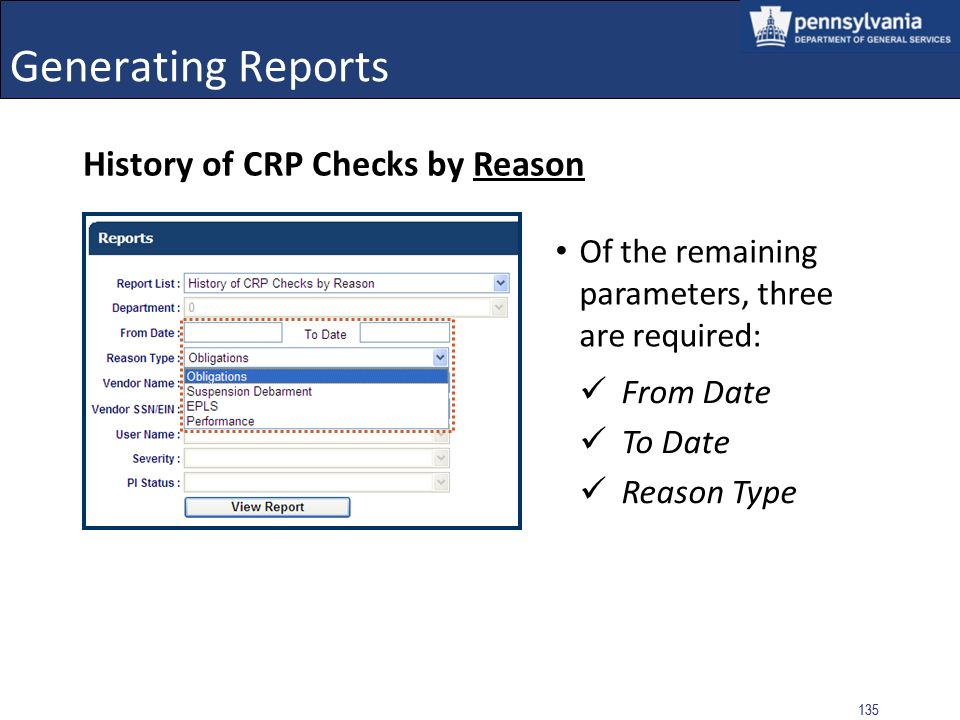 Generating Reports History of CRP Checks by Reason