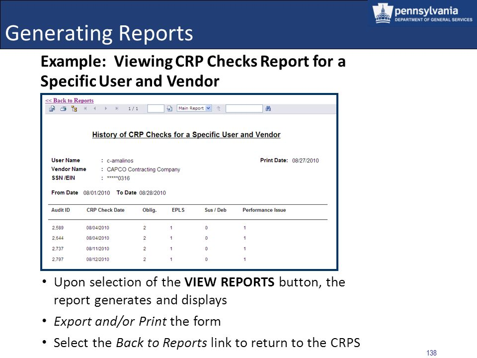Generating Reports Example: Viewing CRP Checks Report for a Specific User and Vendor.