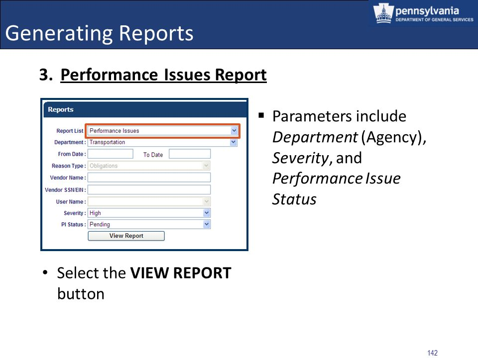 Generating Reports Performance Issues Report