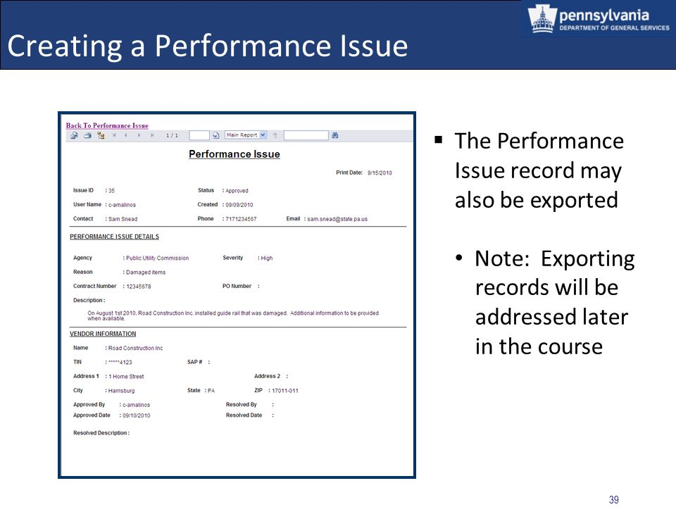 Creating a Performance Issue