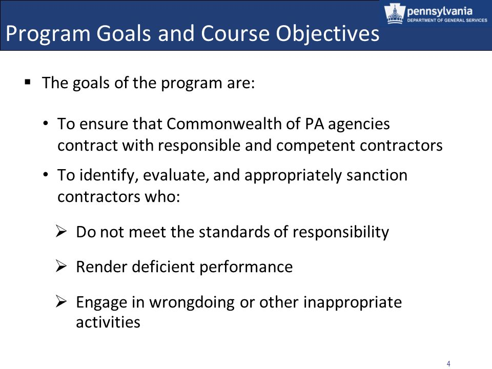 Program Goals and Course Objectives