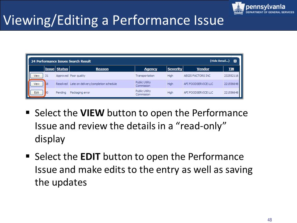 Viewing/Editing a Performance Issue