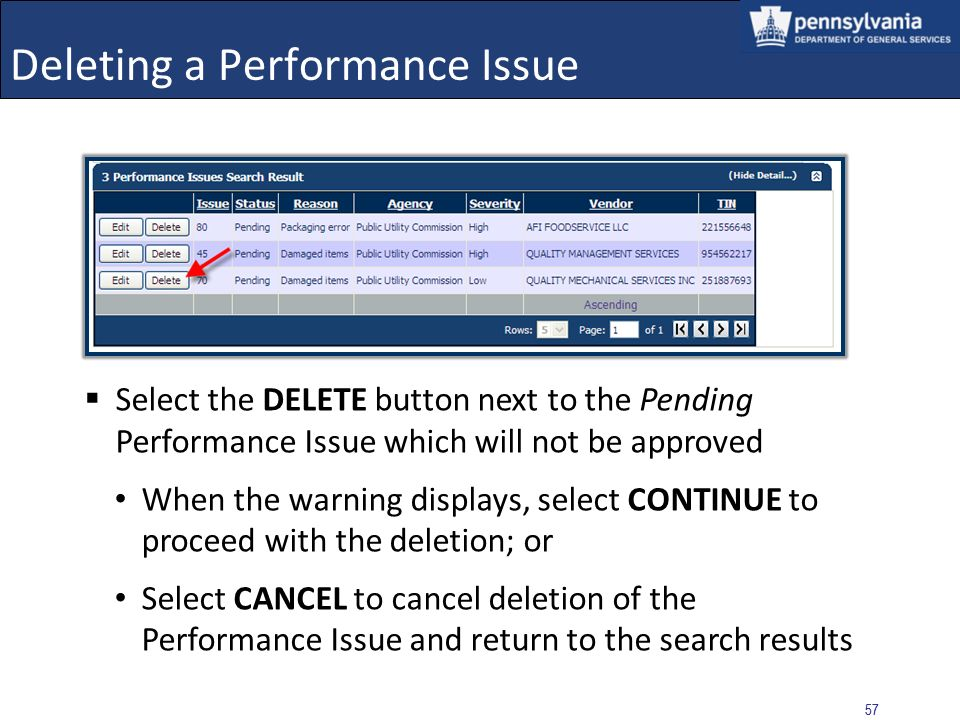 Deleting a Performance Issue