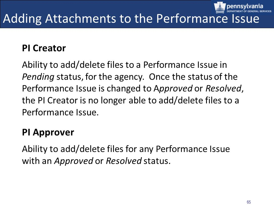 Adding Attachments to the Performance Issue