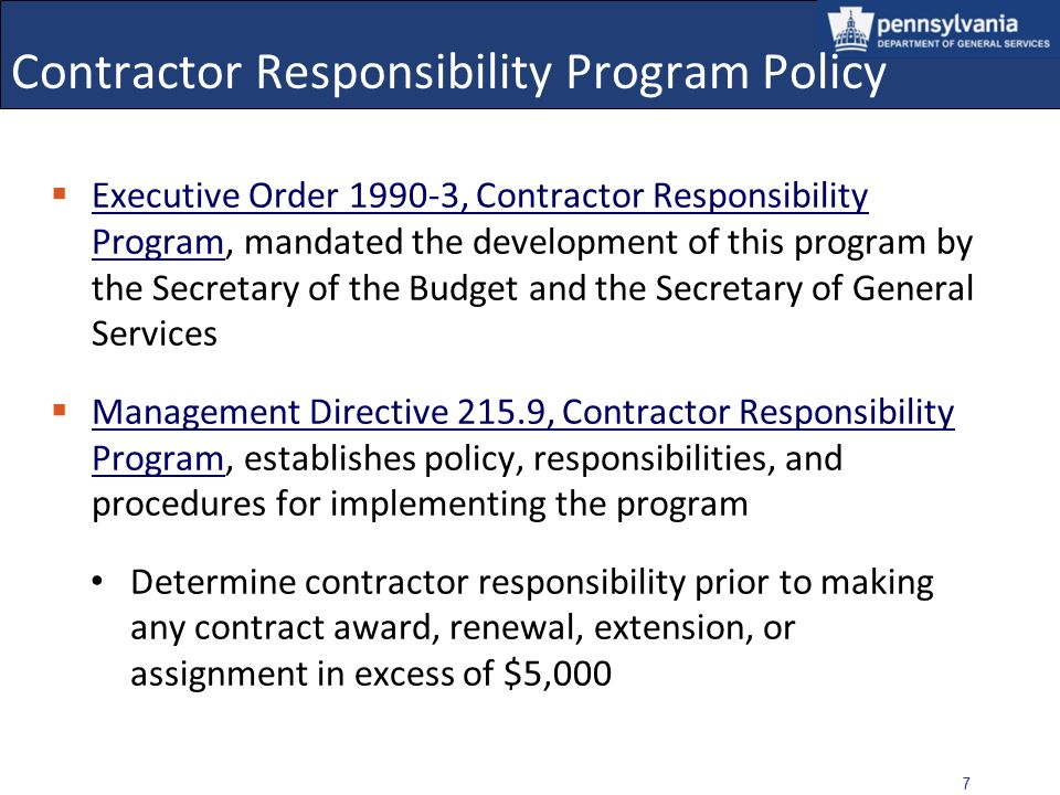 Contractor Responsibility Program Policy