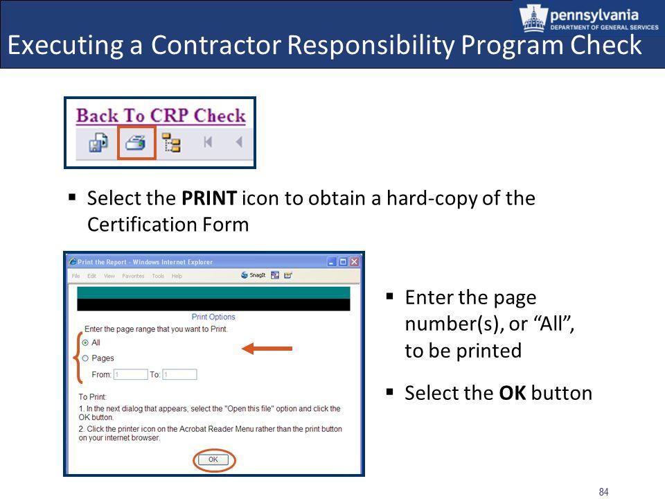 Executing a Contractor Responsibility Program Check