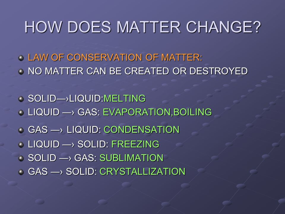 HOW DOES MATTER CHANGE LAW OF CONSERVATION OF MATTER: