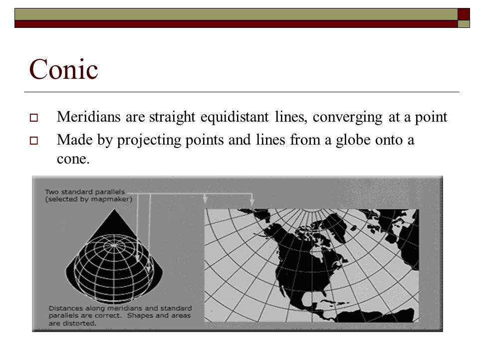 Conic Meridians are straight equidistant lines, converging at a point