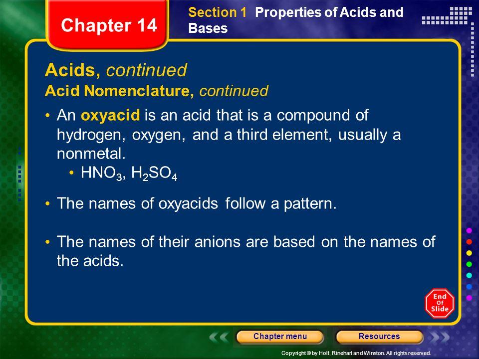Chapter 14 Acids, continued Acid Nomenclature, continued
