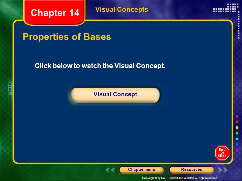 Chapter 14 Properties of Bases Visual Concepts