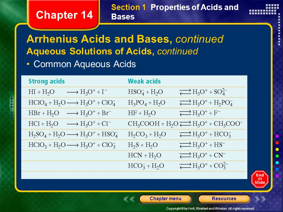 Arrhenius Acids and Bases, continued