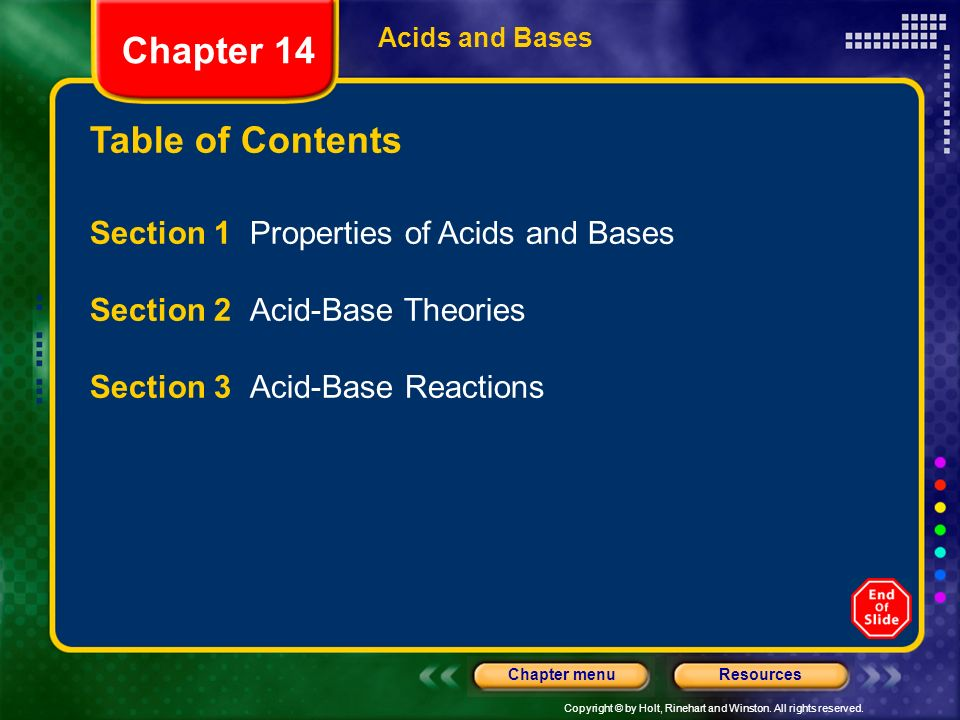 Chapter 14 Table of Contents Section 1 Properties of Acids and Bases