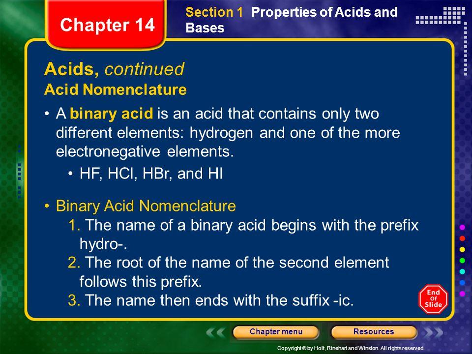 Chapter 14 Acids, continued Acid Nomenclature