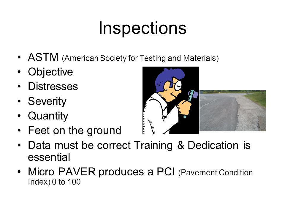 Inspections ASTM (American Society for Testing and Materials)