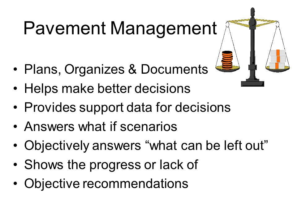 Pavement Management Plans, Organizes & Documents