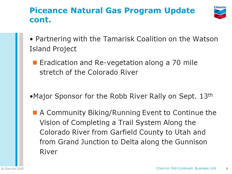 Piceance Natural Gas Program Update cont.