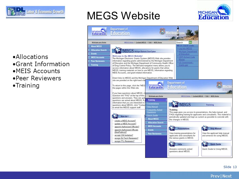 MEGS Website Allocations Grant Information MEIS Accounts