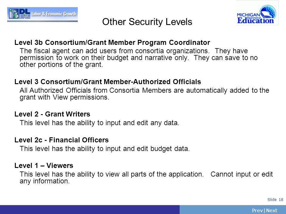 Other Security Levels Level 3b Consortium/Grant Member Program Coordinator.