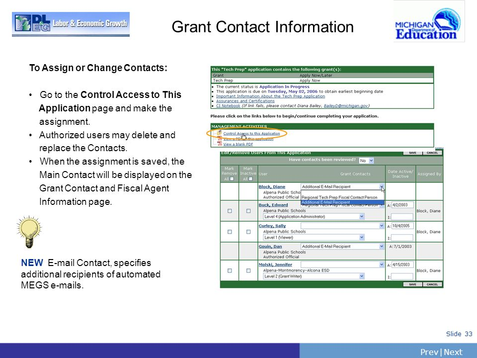 Grant Contact InformationTo Assign or Change Contacts: Go to the Control Access to This. Application page and make the.