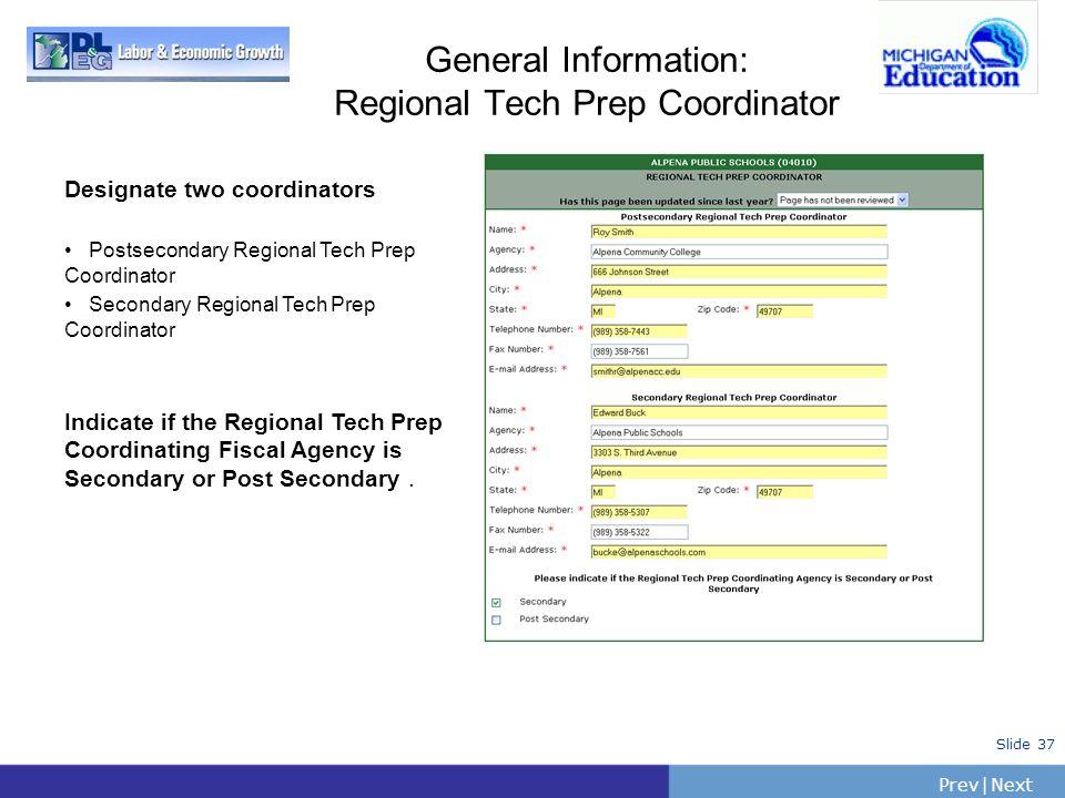 General Information: Regional Tech Prep Coordinator