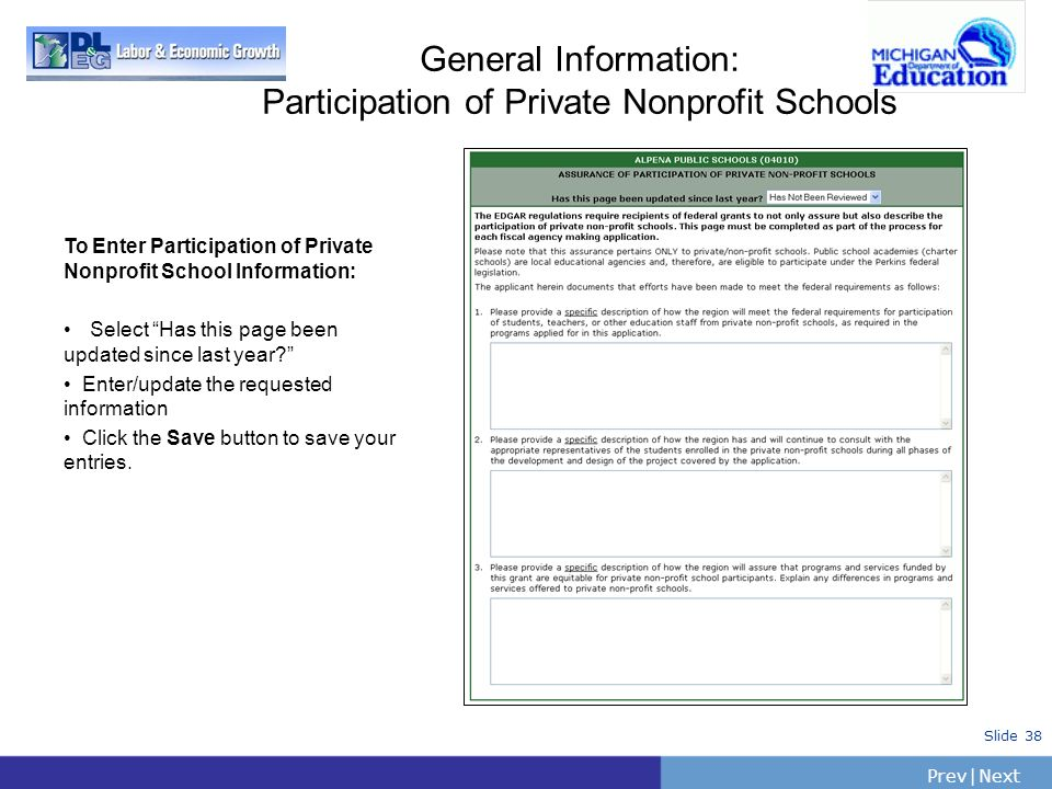 General Information: Participation of Private Nonprofit Schools