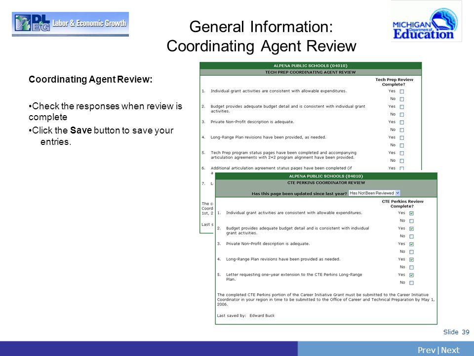 General Information: Coordinating Agent Review