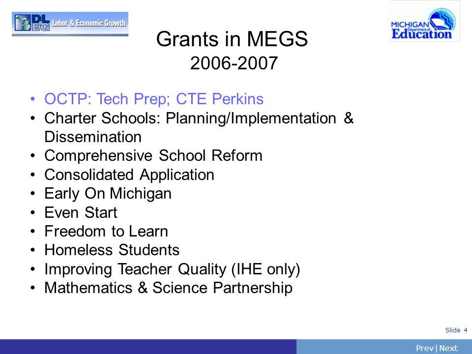 Grants in MEGS 2006-2007 OCTP: Tech Prep; CTE Perkins