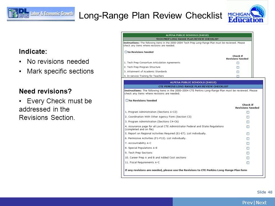 Long-Range Plan Review Checklist
