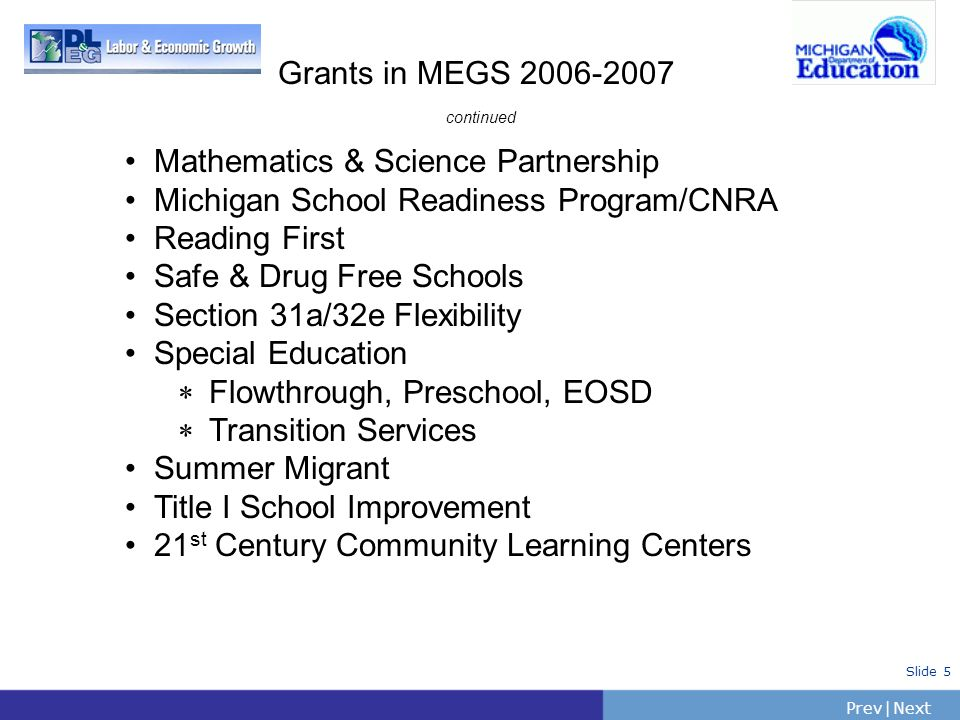 Grants in MEGS 2006-2007 continued