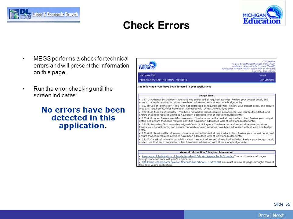 No errors have been detected in this application.