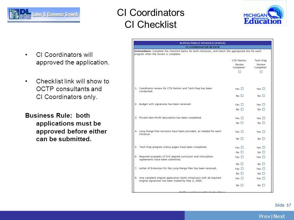 CI Coordinators CI Checklist