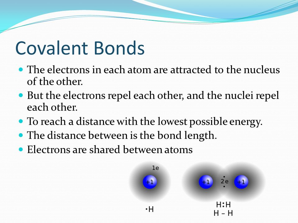 Covalent Bonds The electrons in each atom are attracted to the nucleus of the other.