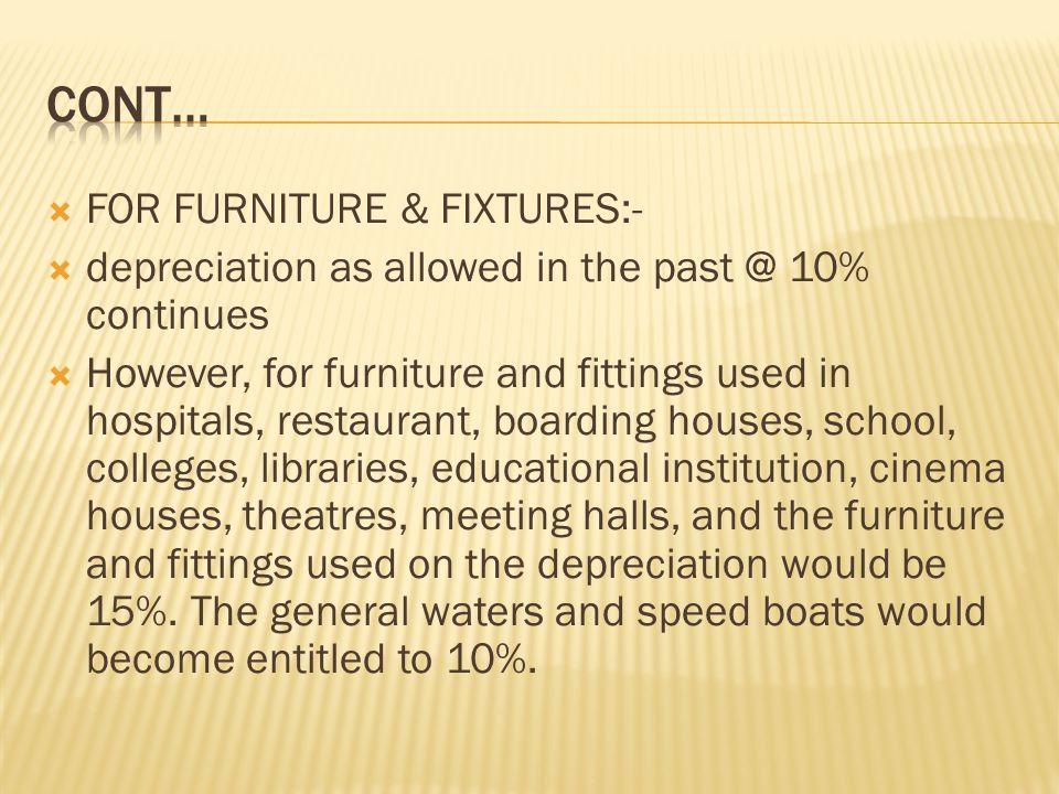 FOR FURNITURE U0026 FIXTURES: