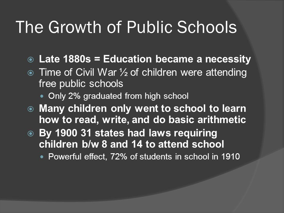 The Growth of Public Schools