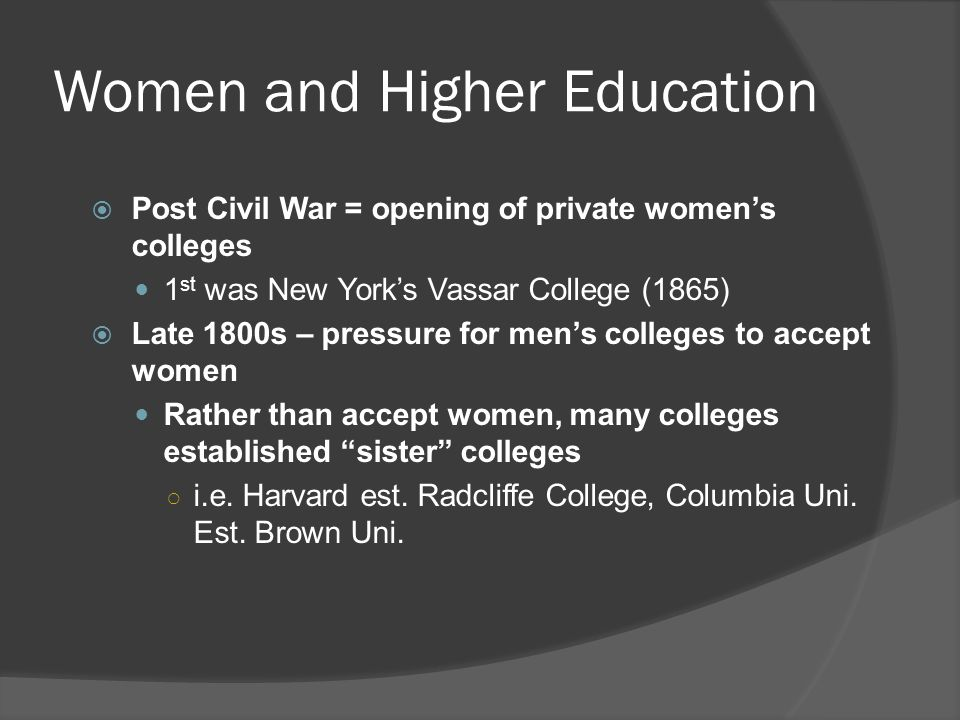 Women and Higher Education