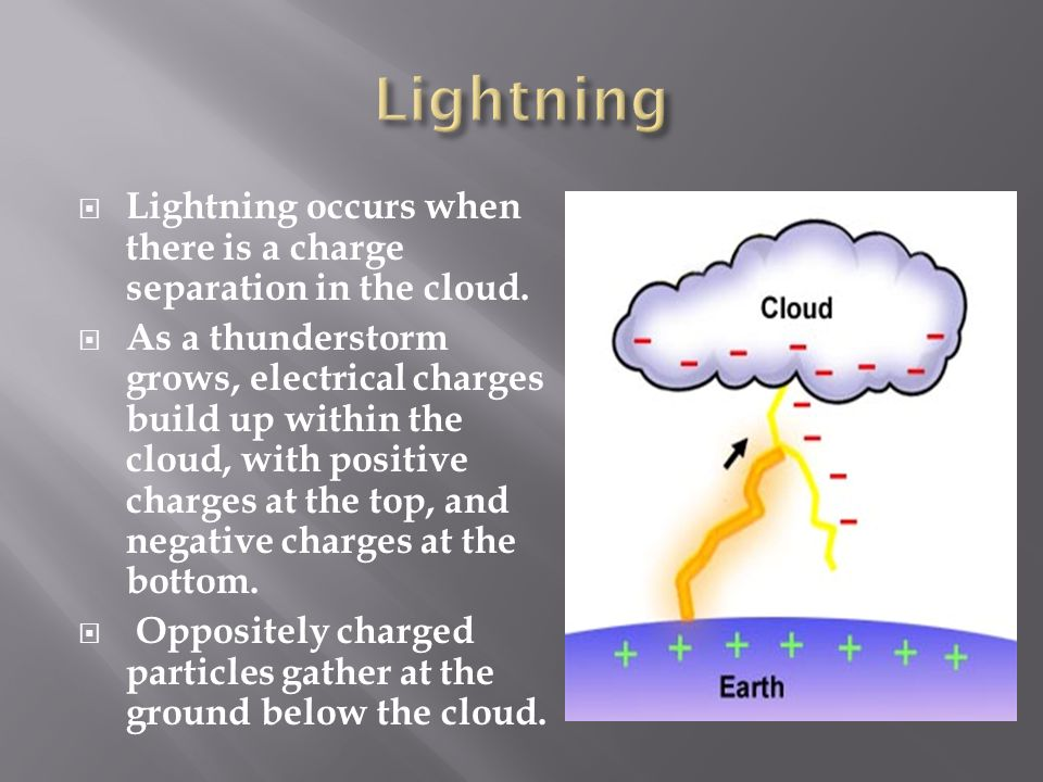 Lightning Lightning occurs when there is a charge separation in the cloud.