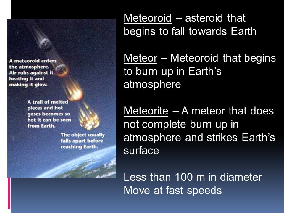 Meteoroid – asteroid that begins to fall towards Earth