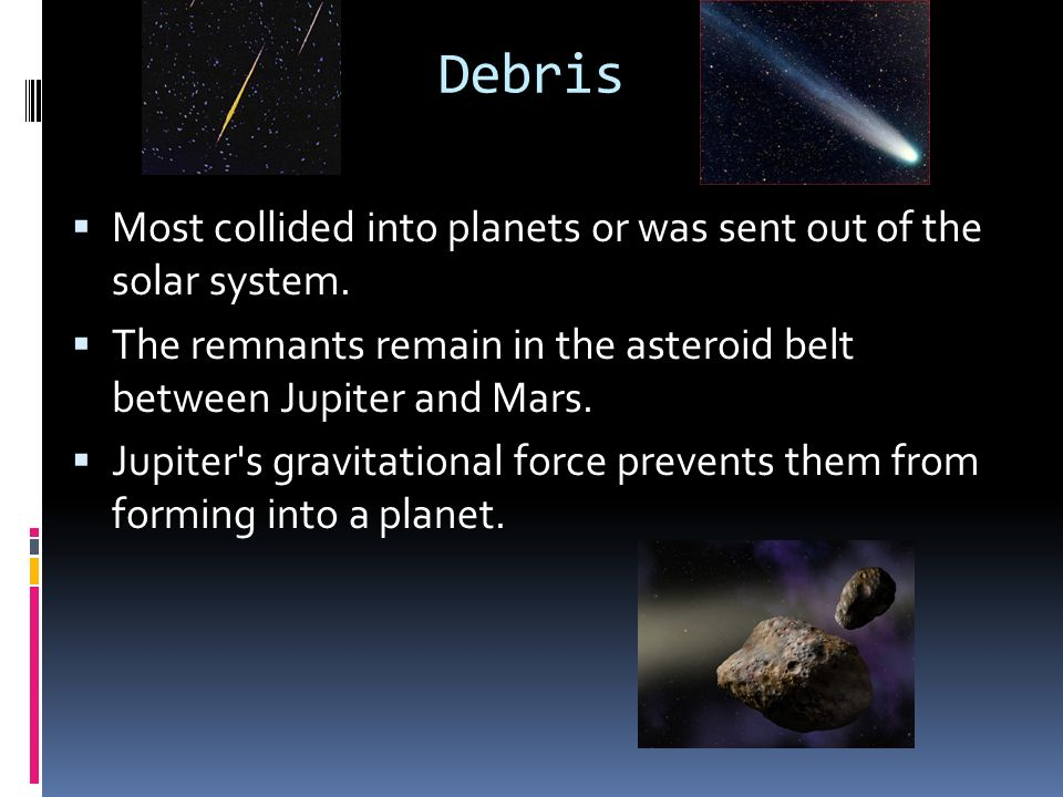 Debris Most collided into planets or was sent out of the solar system.